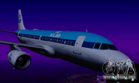 Airbus A319 KLM para GTA San Andreas vista hacia atrás