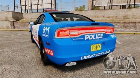 Dodge Charger 2013 LCPD [ELS] para GTA 4 Vista posterior izquierda