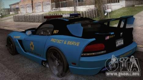 Dodge Viper SRT 10 ACR Police Car para GTA San Andreas vista posterior izquierda