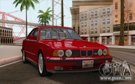BMW M5 E34 1991 NA-spec para GTA San Andreas vista posterior izquierda