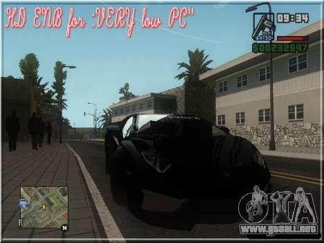 HD ENB for very low PC para GTA San Andreas sucesivamente de pantalla