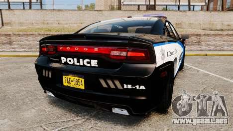 Dodge Charger 2013 Liberty City Police [ELS] para GTA 4 Vista posterior izquierda
