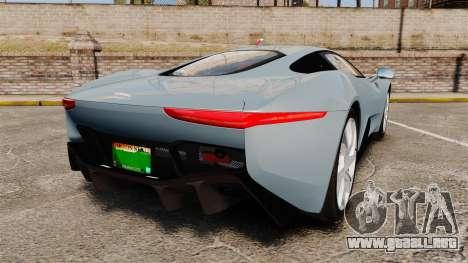 Jaguar C-X75 2014 [EPM] para GTA 4 Vista posterior izquierda