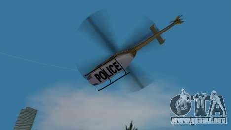 Helicóptero de la policía de GTA VCS para GTA Vice City vista interior