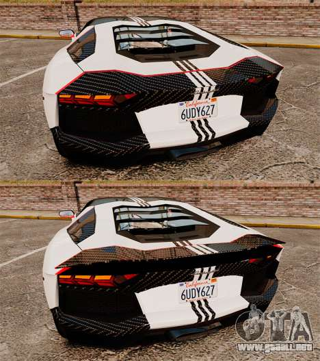 Lamborghini Aventador LP700-4 2012 Adidas Carbon para GTA 4 vista lateral