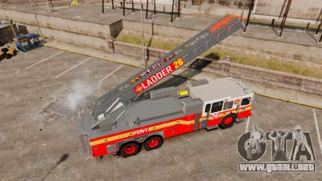 Ferrara 100 Aerial Ladder FDNY [working ladder] para GTA 4 vista hacia atrás