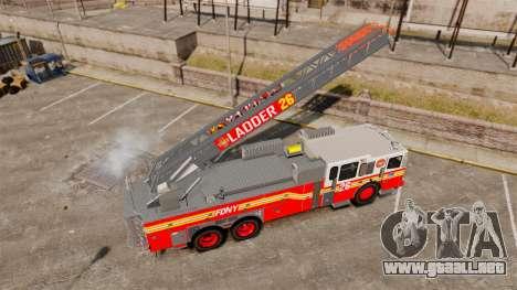 Ferrara 100 Aerial Ladder FDNY [working ladder] para GTA 4 vista hacia atrás