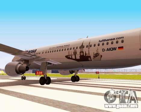 Airbus A320-200 Lufthansa para GTA San Andreas vista hacia atrás