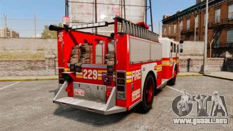 Fire Truck v1.4A FDLC [ELS] para GTA 4 Vista posterior izquierda