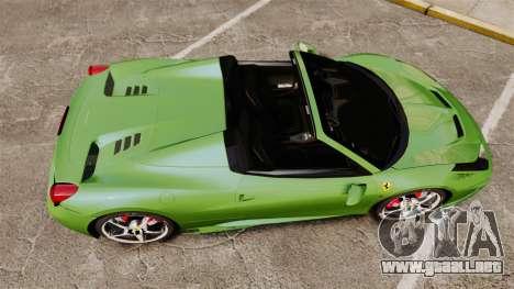 Ferrari 458 Spider Speciale para GTA 4 visión correcta