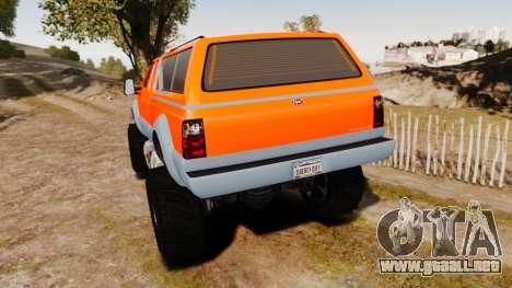 GTA V Vapid Sandking XL wheels v2 para GTA 4 Vista posterior izquierda