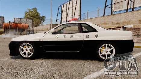 Nissan Skyline GT-R R34 Saitama Police para GTA 4 left