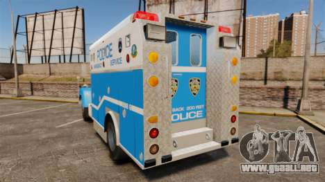 Mack R Bronx 1993 NYPD Emergency Service [ELS] para GTA 4 Vista posterior izquierda
