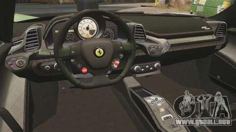Ferrari 458 Spider Speciale para GTA 4 vista hacia atrás