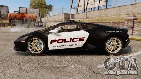 Lamborghini Huracan Cop [Non-ELS] para GTA 4 left