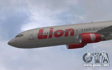 Lion Air Boeing 737 - 900ER para GTA San Andreas vista posterior izquierda