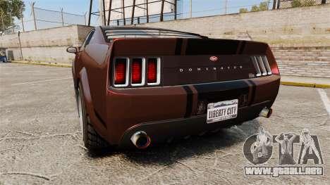 GTA V Vapid Dominator wheels v1 para GTA 4 Vista posterior izquierda