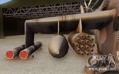 Mi-24D Hind from Modern Warfare 2 para GTA San Andreas vista posterior izquierda