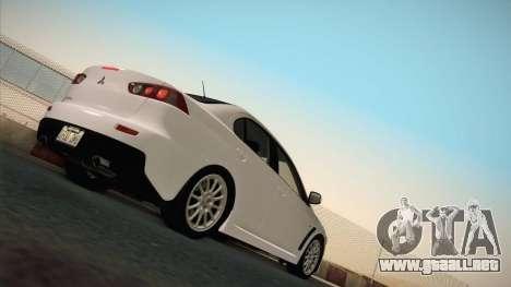 Mitsubishi Lancer Evolution para GTA San Andreas vista hacia atrás