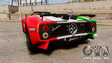 Pagani Zonda C12 S Roadster 2001 PJ6 para GTA 4 Vista posterior izquierda
