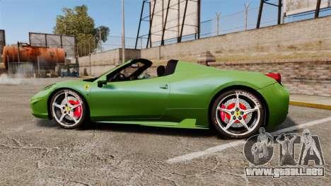 Ferrari 458 Spider Speciale para GTA 4 left