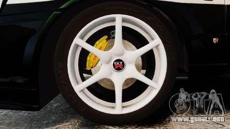Nissan Skyline GT-R R34 Saitama Police para GTA 4 vista hacia atrás