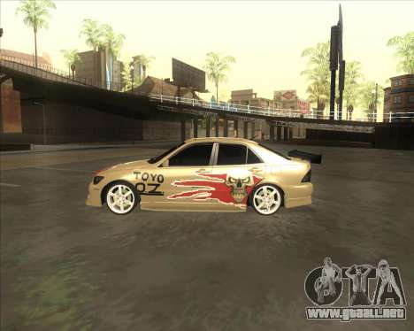 Lexus IS300 Tuneable para GTA San Andreas vista posterior izquierda