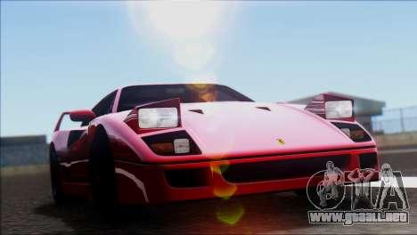 Ferrari F40 1987 para GTA San Andreas vista posterior izquierda