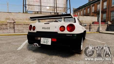 Nissan Skyline GT-R R34 Saitama Police para GTA 4 Vista posterior izquierda