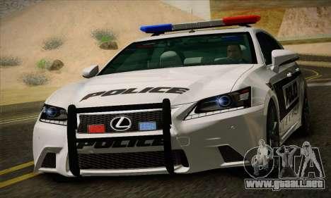 Lexus GS350 F Sport Series IV Police 2013 para GTA San Andreas left