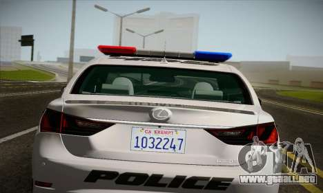 Lexus GS350 F Sport Series IV Police 2013 para GTA San Andreas vista hacia atrás