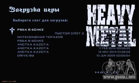 Heavy Metal Menu V.1 para GTA San Andreas sucesivamente de pantalla