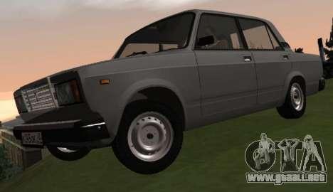 VAZ-2107 para GTA San Andreas vista hacia atrás