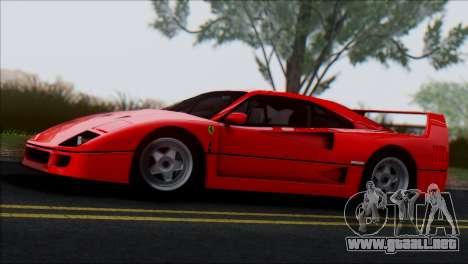 Ferrari F40 1987 para GTA San Andreas vista hacia atrás