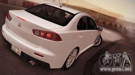 Mitsubishi Lancer Evolution para GTA San Andreas left