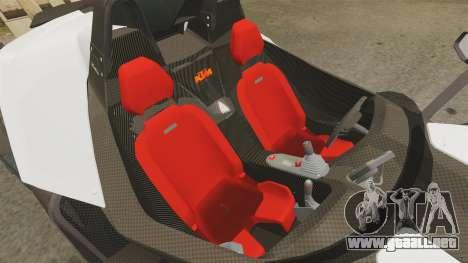 KTM X-Bow R para GTA 4 vista interior
