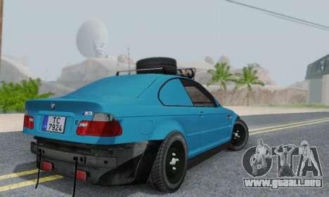 BMW M3 E46 Offroad Version para GTA San Andreas vista hacia atrás