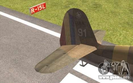 IAR 80 - Romania No 91 para GTA San Andreas vista posterior izquierda