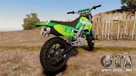 GTA V Maibatsu Sanchez wheels v2 para GTA 4 Vista posterior izquierda