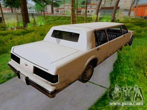 Greenwood Limousine para GTA San Andreas vista posterior izquierda