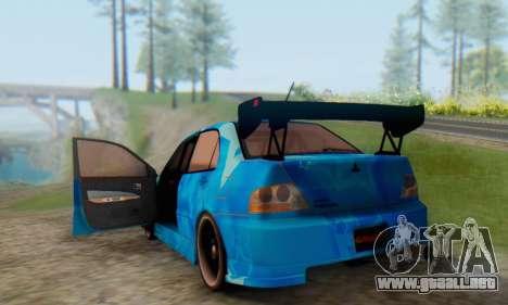 Mitsubishi Lancer Evolution IIIX Blue Star para vista lateral GTA San Andreas