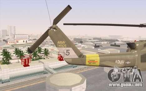 UH-1 Huey para GTA San Andreas vista posterior izquierda