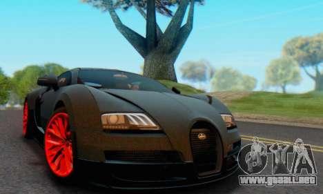 Bugatti Veyron Super Sport 2011 para GTA San Andreas vista hacia atrás