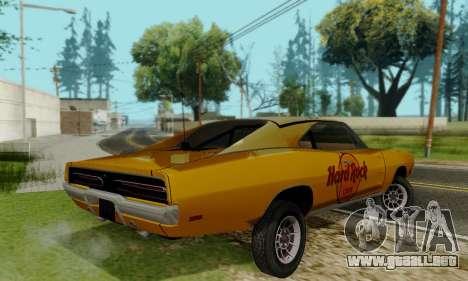 Dodge Charger 1969 Hard Rock Cafe para GTA San Andreas vista hacia atrás