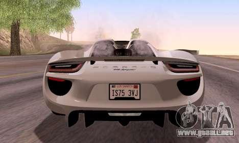 Porsche 918 2013 para visión interna GTA San Andreas