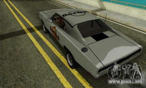 Dodge Charger 1969 Hard Rock Cafe para GTA San Andreas vista posterior izquierda