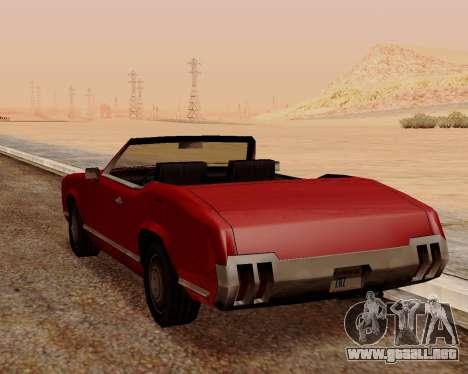 Sabre Convertible para GTA San Andreas vista posterior izquierda