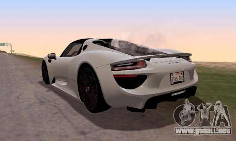 Porsche 918 2013 para GTA San Andreas left