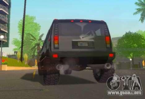 Hummer H2 Limousine para GTA San Andreas vista hacia atrás