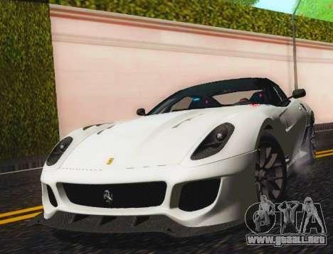 Ferrari 599XX Evolution para GTA San Andreas vista hacia atrás